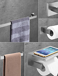 cheap -Multifunction Bathroom Accessory Set Include Towel Bar Toilet Paper Holder and Robe Hooks Stainless Steel Bathroom Shelf Wall Mounted 1or3or4 pcs
