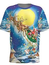 cheap -Men's Galaxy 3D Graphic T-shirt Print Short Sleeve Christmas Tops Round Neck Blue