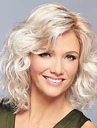 cheap -Synthetic Wig Curly Asymmetrical Wig Blonde Medium Length Blonde Synthetic Hair Women's Fashionable Design Exquisite Fluffy Blonde