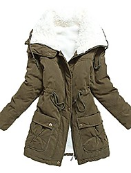 cheap -women's winter warm faux lamb wool coat parka cotton outwear jacket with pocket us x-large army green