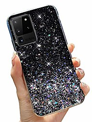 cheap -glitter case for samsung galaxy a21s clear bling case shining sparkle for girls luxury fashion shiny sequins star ultra slim reinforced soft tpu protective cover for samsung galaxy a21s-black