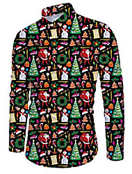 cheap -colorful christmas tree graphic dress shirts for men polyester 3d print graphic designer colorful slim fit big and tall xmas button up shirts xxl