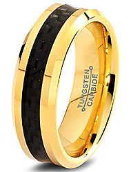 cheap -tungsten wedding band ring 6mm men women comfort fit black carbon fiber 18k yellow gold plated bevel edge polished size 6
