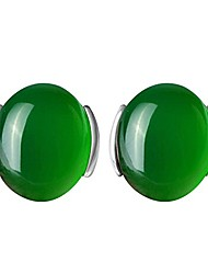 cheap -925 sterling silver cobble shape pure natural agate stone stud earring (25mm) (green)
