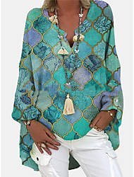 cheap -Women's Tunic Blouse Shirt Color Block Long Sleeve Asymmetric Print V Neck Tops Basic Basic Top Purple Green Light Green