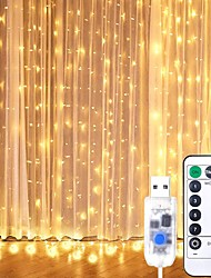 cheap -3m*3m Window Curtain String Lights 9.8x9.8 Ft 300 LED USB Powered Waterproof 8 Lighting Modes with IR Remote for Bedroom Wedding Party Home Garden Indoor Outdoor Wall Decorations