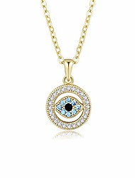 cheap -evil eye pendant necklace lucky jewelry gold plated chain for women girls valentine's day party special days