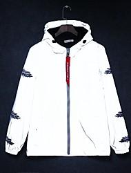 cheap -Men's Zipper Hooded Jacket Regular Print Daily Print Long Sleeve White Gray M L XL XXL