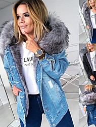 cheap -Women's Solid Colored Fur Trim Active Fall & Winter Denim Jacket Regular Going out Long Sleeve Denim Coat Tops Black