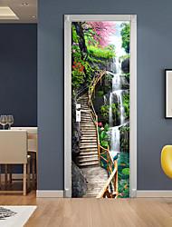 cheap -Mountain Waterfall Self-adhesive Creative Door Stickers Living Room DIY Decorative Home Waterproof Wall Stickers