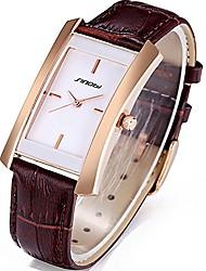 cheap -sinobi square women watches wristwatch business casual lady designer simple rectangular women watches(rosegold case&brown band)