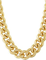 cheap -cuban link chain 11mm round 24k gold plated thick necklace guaranteed for life 18 inches