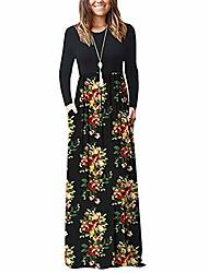 cheap -kyleon women's long sleeve maxi dress with pockets plain loose tunic dresses elegant floral casual summer beach long dress