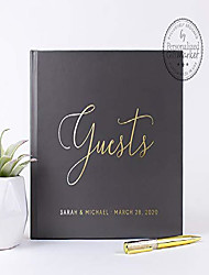 cheap -custom wedding sign-in guest book, personalized signature book with bride groom names & date - hardcover (10x8 inches)