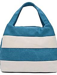 cheap -ladies handbag stripes daily packages travel bag canvas bags shopping bag ipad bag (black)