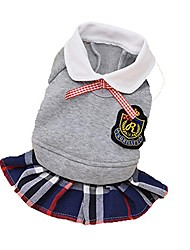 cheap -pet dog clothes lovers' preppy style shirt dress puppy matching outfits 4 colors (xs, grey dress)