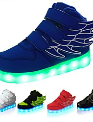 cheap -Boys' Sneakers LED LED Shoes USB Charging PU Wings Shoes Little Kids(4-7ys) Big Kids(7years +) Casual Outdoor Magic Tape LED Luminous White Black Red Fall Spring