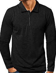 cheap -men's long sleeve polo shirt 1/4 zip pullover casual slim fit zipper t shirts 1black m
