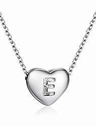 cheap -dainty heart initial necklace s925 sterling silver letters e alphabet pendant necklace birthday gift for mom