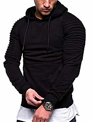 cheap -men's casual fashion sports raglan sleeves striped hoodie pullover long sleeve solid color sweater (black, s)