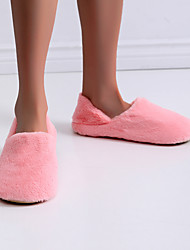 cheap -Women's Slippers & Flip-Flops Fuzzy Slippers Indoor Slippers Indoor Shoes Flat Heel Round Toe Casual Sweet Home Polyester Floral Winter Pink