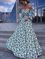 cheap -Women's Swing Dress Maxi long Dress - Long Sleeve Floral Fall Off Shoulder Elegant Casual vacation dresses 2020 Light Blue S M L XL