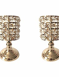 """cheap -crystal candle holders stand coffee table living and dinning room candlestick centerpieces set gifts for thanksgiving birthday housewarming (gold, 8.27"""" and 8.27"""")"""