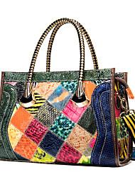 cheap -Women's Bags Leather Cowhide Satchel Top Handle Bag Zipper Embossed Color Block Daily Retro 2021 Handbags Rainbow