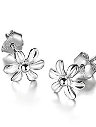 cheap -925 sterling silver daisy small rose flower stud earring (silver)