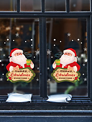 cheap -Christmas Toys Christmas Window Clings Window Stickers Wall Decals Santa Claus Merry Christmas Waterproof Removable Party Favor PVC 6 pcs Kid's Adults 30*45cm Christmas Party Favors Supplies