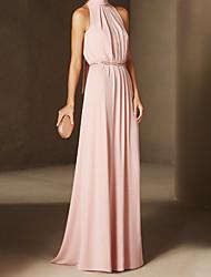 cheap -Sheath / Column Beautiful Back Elegant Wedding Guest Formal Evening Valentine's Day Dress Halter Neck Sleeveless Floor Length Chiffon Stretch Satin with Bow(s) 2021