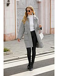 cheap -Women's Coat Houndstooth Basic Fall & Winter Peaked Lapel Long Daily Long Sleeve Wool Coat Tops Gray