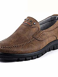 cheap -men's slip on loafers casual brown travel shoes fashion stitched walking moccasin breathable driving shoes