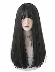 cheap -hair dye wig for women synthetic hair natural long straight wig with bangs (22inch, black)