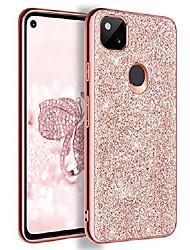 cheap -google pixel 4a case, pixel 4a case, slim glitter sparkly soft flexible bumper protective shockproof anti scratch non-slip cute stylish phone case cover for google pixel 4a (2020), rose gold