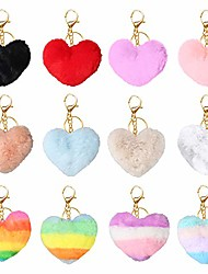 cheap -12 pieces pom pom keychains fluffy faux rabbit fur pompoms keyring car key handbag charm accessories