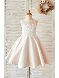 cheap -Princess / Ball Gown Knee Length Wedding / Birthday Flower Girl Dresses - Lace / Satin Sleeveless Jewel Neck with Buttons / Appliques