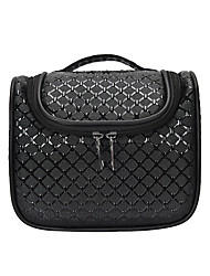 cheap -Women's Bags PU Leather Toiletry Bag Cosmetic Bag Makeup Zipper Embossed Grid / Plaid 2021 Going out Office & Career Black