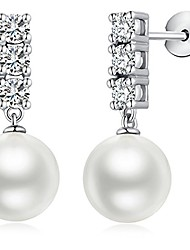 cheap -pearl dangle earrings fashion drop pearl earrings for women sterling silver hypoallergenic faux pearl earrings dangle drop pearl earrings white cubic zirconia pearl earrings women pearl silver earring
