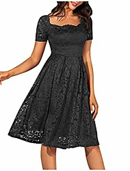cheap -women fashion o-neck solid lace print a-line skirt short sleeve evening dress black