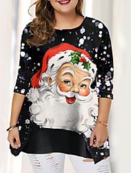 cheap -Women's Plus Size Blouse Shirt Graphic Prints Patchwork Print Round Neck Tops Basic Top Black