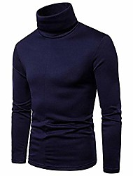 cheap -men's turtleneck long sleeve solid casual t-shirts fleece knitted thermal pullover (navy, tag xl)