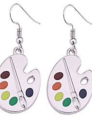 cheap -fashion design paint brush and colorful paint palette drop earrings artist painter jewelry