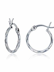 cheap -sterling silver diamond cut polished basic hoop earrings for women | 1.50x18mm round hoop earrings | secure snap bar closure | shiny classic earrings