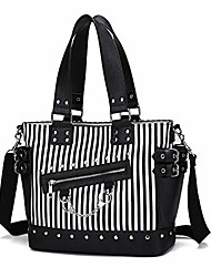 cheap -women fashion rivet handbag purse canvas punk tote with shoulder strap crossbody bag large capacity (luminous-striped)
