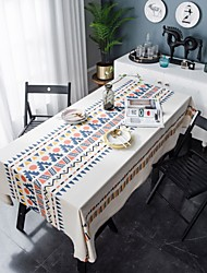 cheap -Table Cloth Cotton Dust-Proof Classic Printing Table Cover,Stain Proof,Water Resistant Washable Table,Decorative Oblong Table Cover for Kitchen,Holiday