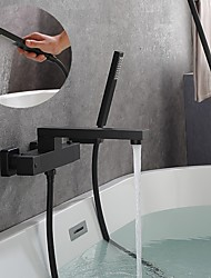cheap -Bathtub Faucet - Thermostatic Bath Tub Faucet Contemporary Black Painted Finishes Wall Mounted Bath Shower Mixer Taps with Handshower