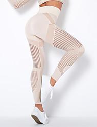 cheap -women's mesh solid fashion leggings premium tummy compression slimming yoga pants t939-pink-s