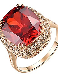 cheap -statement halo rings 18k rose gold plated austrian crystal red large ring for women size 9.5