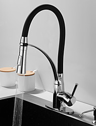 cheap -Kitchen Faucet with Soap Dispenser Single Handle One Hole Electroplated Pull-out / Pull-down / Tall / High Arc / Bar / ­Prep Deck Mounted Contemporary / Antique Kitchen Taps